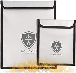 Fireproof Document Bag 2pack Waterproof and Fireproof valuables Protective Bag, Fireproof Bag for Digital Products
