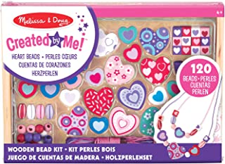 Melissa & Doug Sweet Hearts Wooden Bead Set with 120+ Beads and 5 Cords for Jewelry-Making