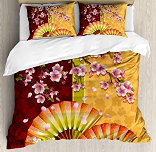 Floral Duvet Cover Set King, Sakura Blooms with Japanese Hand Fan Figures Authentic Asian Design Theme, 4 Piece Bedding Set with 2 Pillow Shams for Adult/Kids/Teens, Marigold Baby Pink Burgundy