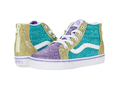 Vans Kids Sk8-Hi Zip (Infant/Toddler) ((Mermaid Glitter) Color-Block) Girls Shoes