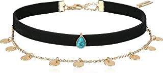 Steve Madden Disc Charm Chain Suede Choker Necklace