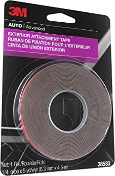 3M Exterior Attachment Tape, Ideal for Moldings, Emblems and Trim, 1/4 in width x 5 yards in length, 1 roll: image