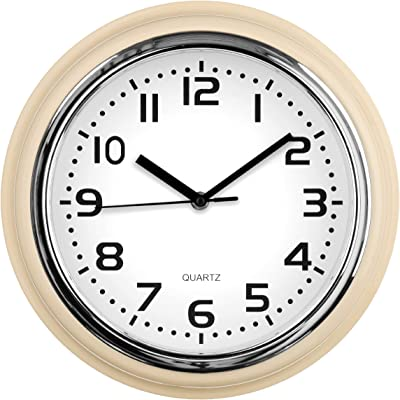 Premier Housewares Ivory Chrome Effect Plastic Design Wall Clock Lightweight New