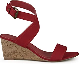 Womens Ankle Strap Canvas Wedge