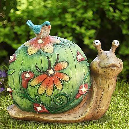 Garden Statue Snail Figurine - Solar Powered Resin Animal Sculpture, Indoor Outdoor Decorations, Patio Lawn Yard Art Ornaments, 10 x 8.5 Inch