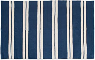 J&M Home Fashions Reversible Indoor/Outdoor Cabana Stripe Woven Area Rag Rug, 30x48, Navy Blue