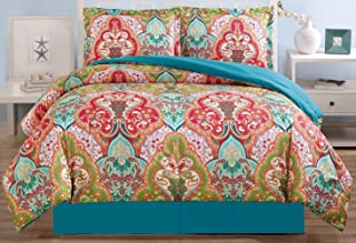 3-Piece Fine printed Duvet Cover Set QUEEN SIZE - 1500 series high thread count Brushed Microfiber - Luxury Soft, Durable (Turquoise Blue, Sage Green, Orange, Terra cotta Red)