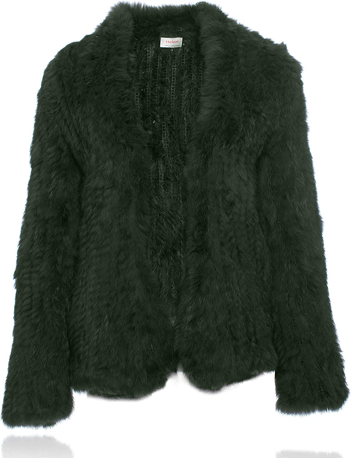 HEIZZI Natural Fur Coat Knitted Rabbit Fur Jacket Long Sleeve