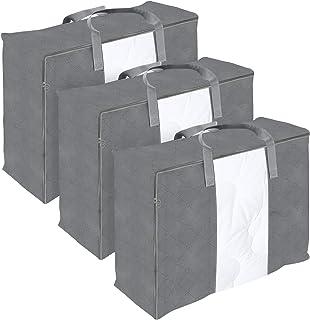 DIMJ 3 sztuki torba do przechowywania z przezroczystym okienkiem i uchwytami do pościeli, kołder, poduszek, koców, ubrań, ...