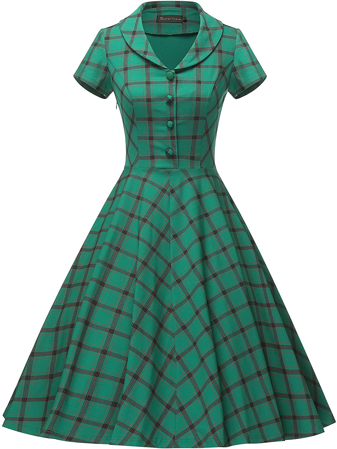 Pin Up Girl Costumes | Pin Up Costumes GownTown Womens 1950s Vintage Plaid Swing Dress with Pockets  AT vintagedancer.com