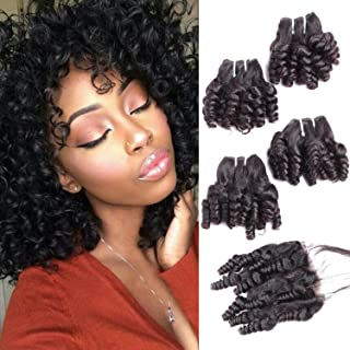 Calavaca Brazilian Curly Human Hair 4 Bundles With 4x4 Closure Unprocessed Human Remy Hair Short Spiral Bouncy Curls Weave Funmi Virgin Hair Weft Natural Black 240Gram/lot(10