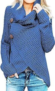 comprar comparacion Jerseys De Punto para Mujer Cuello de Tortuga Manga Larga Suelto Prendas de Punto Suéter Irregular Jerséis Collar de la Pi...