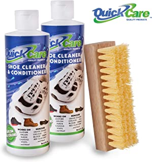 Quick Care Products Shoe Cleaner Kit Leather Conditioner Lotion 8 oz - Conditions, Cleans, Polishes & Protects of Leather