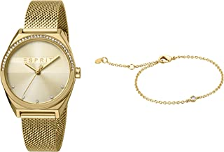 Esprit Slice Glam Champagne Dial Stainless Steel Analog Watch Bracelet Set For Women ES1L057M0055SET