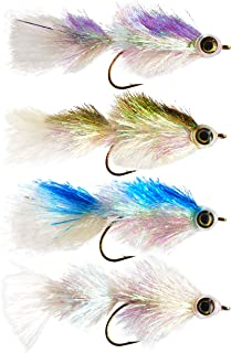 The Fly Crate Shimmering Minnow Articulated Streamer Assortment   Size #2/0 Fly Fishing for Trout Bass Pike   4 Flies