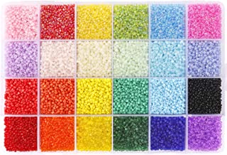 Quefe 26400pcs 2mm Glass Seed Beads 24 Colors Small Beads Kit Bracelet Beads with 24-Grid Plastic Storage Box for Jewelry ...