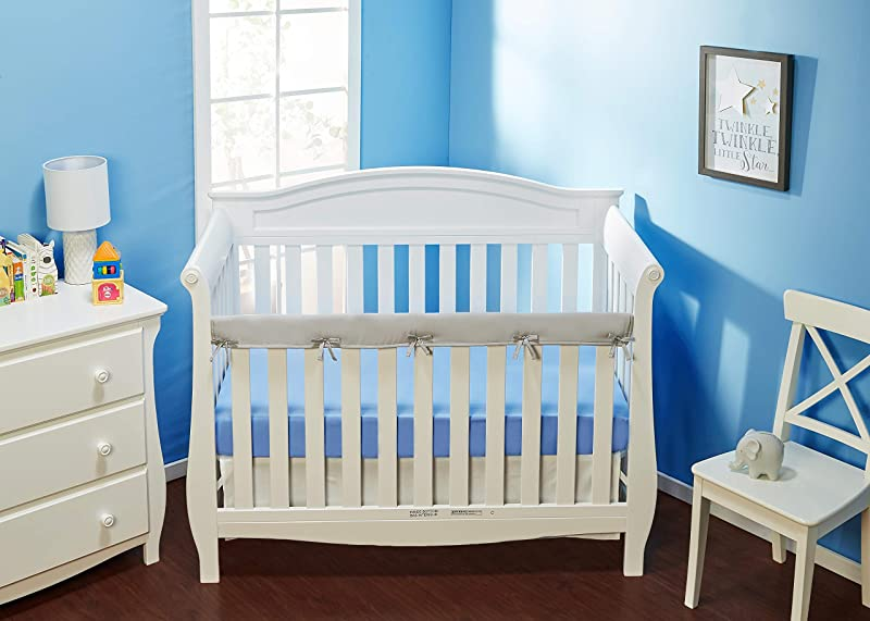 Everyday Kids Padded Baby Crib Rail Cover Crib Rail Teething Guard 1 PC Front Rail Only 51 By 8 For Narrow Rail Up To 4 With 5 Sewn Ties For Secure Fit Grey Soft Microfiber Polyester
