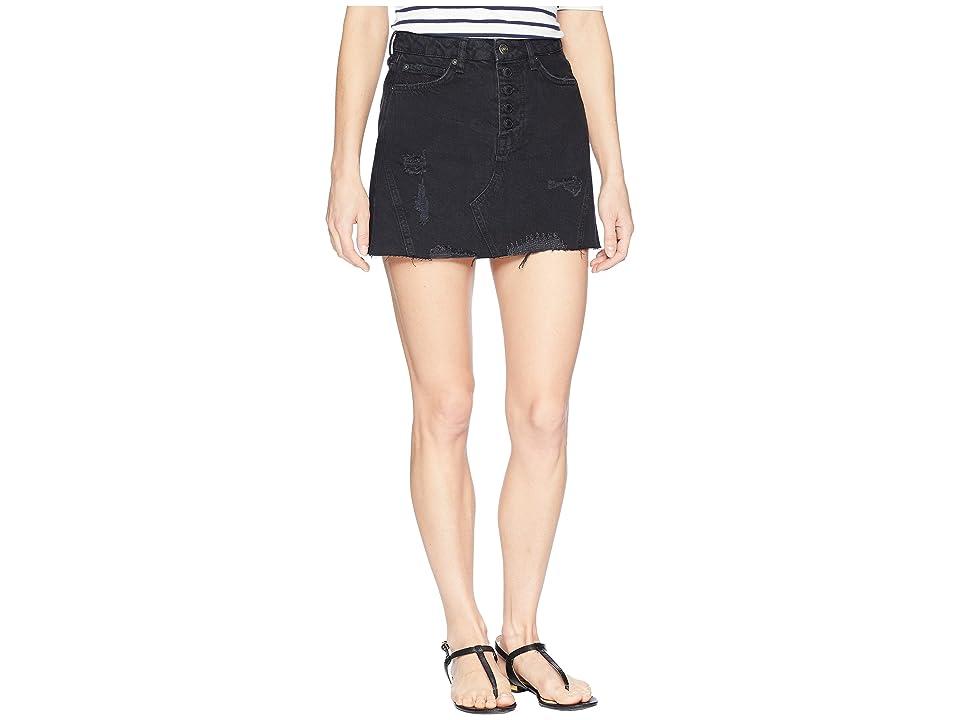 Free People Denim A-Line Skirt (Black) Women