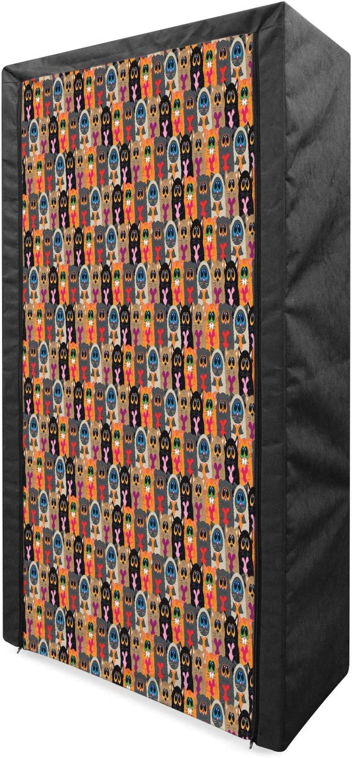 Ambesonne Crazy Direct store Portable Fabric Holding Cats Colorful Seattle Mall Wardrobe