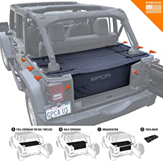 GPCA Cargo Cover PRO and Cargo Organizer Freedom Pack for TOP ON/Topless Jeep Wrangler JKU 4DR Freedom Pack, for Jeep Wrangler Sports/Sahara/Freedom/Rubicon 2007-2018 Models