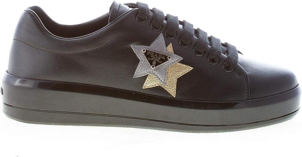 Prada  sneakers donna  in pelle con doppia stella argento ed oro taglia 36 eu 1E672H 1OOL F0H0S