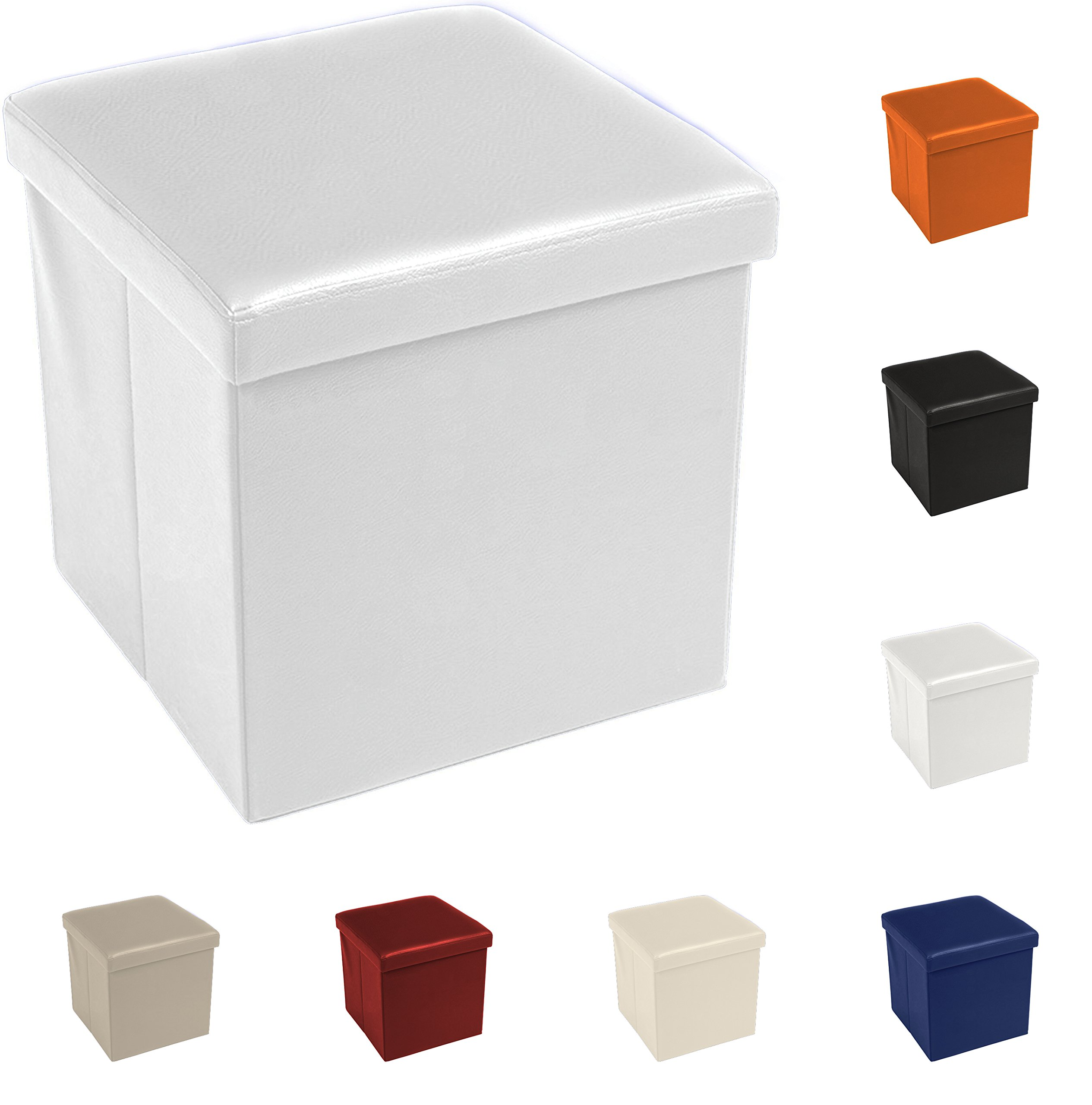 Tata Home Puf Puff Contenedor Caja Cubo reposapiés Taburete de Piel sintética tamaño 38 x 38 x 38 cm Color Blanco: Amazon.es: Hogar
