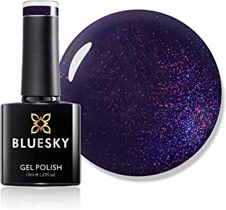 Bluesky Gel Nail Polish, Purple Days A017, Dark, Glitter, Purple,Wine Long Lasting, Chip Resistant, 10 ml (Requires Drying...