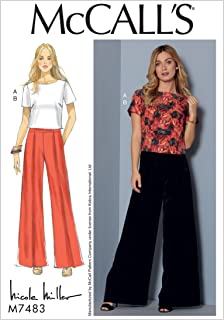 McCall's Patterns M7483A50 Misses Short Sleeve Top and Pleated/Wide-Leg Pants