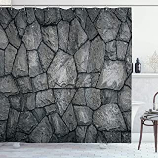 Ambesonne Grey Shower Curtain, Stone Wall Texture Image Rough Rusty Blocks Obsolete Structure Antique Grunge Weathered, Cloth Fabric Bathroom Decor Set with Hooks, 70