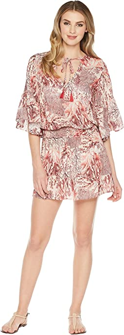 Coral Treasures Short Dress Cover-Up
