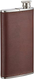Visol Products Edian Stainless Steel Flask with Built-in Cigar Leather Case, 4 oz, Brown