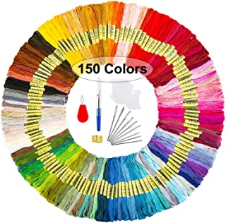 Miukada 150 Rainbow Colors Embroidery Floss, Friendship Bracelets Floss, Embroidery Thread Cross Stitch Floss with 10 Pieces Floss Bobbins for Cross Stitch kit and DIY Craft
