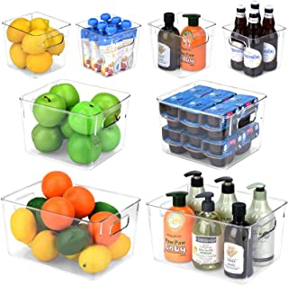 Toplife Refrigerator Storage Bins with Handle, Clear Plastic Organizer Container for Kitchen, Pantry, Freezer, Countertop...