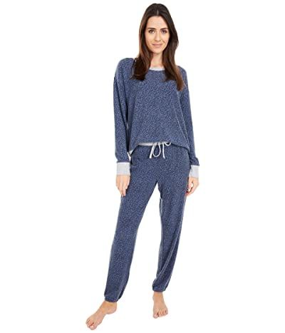 Splendid Westport Brushed Jersey Long Sleeve PJ Set (Mini Animal/Peacoat) Women