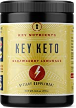 Exogenous Ketone Supplement, KEY KETO: Patented BHB Salts (Beta-Hydroxybutyrate) - Formulated for Ketosis, to Burn Fat, Increase Energy and Focus, Supports a Keto Diet. Strawberry Lemonade (278g) (20)