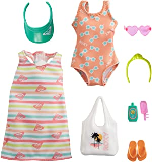 Barbie Storytelling Fashion Pack of Doll Clothes Inspired by Roxy: Striped Dress, Roxy Swimsuit & 7 Beach-Themed Accessori...