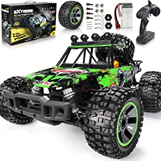 Remote-Control Cars 1/10 48KM/H High Speed Off Road RC Car Adult IPX5 Waterproof Monster Car 4WD 2.4G Hobby RC Trucks with 540 Brushed Motor and Extra Tires Christmas Toy Car for Boys Adults (Green)
