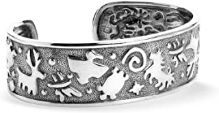 American West Sterling Silver Animal and Bird Symbols Textured Cuff Bracelet Size S, M or L