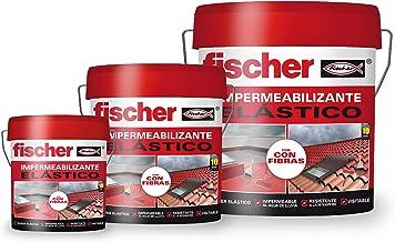 Fischer Impregneermiddel 1 kg rood met vezels, vloeibaar polymeer voor daken en tegels, emmer van 1 kg