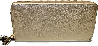 Skyler Metallic Pebble leather Lg Clutch Wristlet Platinum Moonlit