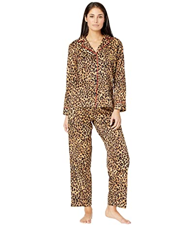 LAUREN Ralph Lauren Petite Sateen Long Sleeve Notch Collar Pajama Set (Leopard) Women