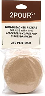 350x (1 Pack) Reusable Replacement Paper Filters for Use with The Aeropress Coffee Maker - Vegan Non Bleached Natural - 2POUR - Free USA Shipping available!