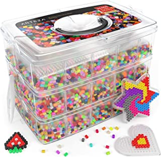ARTEZA Iron Beads for Kids, 5mm, 30,000 Beads, 45 Colors, Fuse Beads Kit with 5 Pegboards, 2 Tweezers & 5 Ironing Papers in a 3-Tier Container for Making DIY Crafts