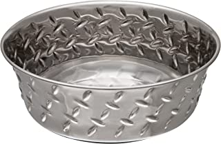 Loving Pets Diamond Plated Dog Bowl with Non-Skid Bottom, 2-Quart, Metal (7256)