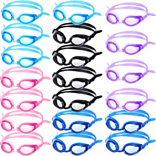 Gejoy 20 Pairs Kids Swimming Goggles No Leaking Swim Goggles Wide View Swim Glasses for Youth Children and Teens from 6 to 14 Years Old, Waterproof and Clear Vision, Random Color