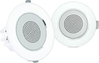 "4"" Ceiling Wall Mount Speakers - Pair of 2-Way Full Range Sound Stereo Speaker Audio System Flush Design w/ Aluminum Alloy Frame Housing 60Hz - 20kHz Frequency Response & 160 Watts Peak - Pyle PDIC4"
