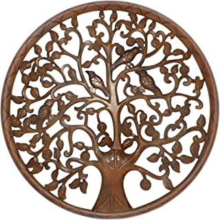 The Urban Port Tup Circular Mango Wood Wall Panel with Cutout Tree and Bird Carvings, Antique Brown,