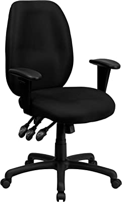 Flash Furniture High Back Black Fabric Multifunction Ergonomic Executive Swivel Office Chair with Adjustable Arms