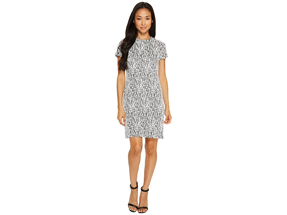 Calvin Klein Printed Short Sleeve Dress (Cream/Black) Women