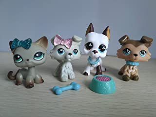 LPSBEST LPS Great Dane 577 White and Brown LPS Collie 363 893 Grey Brown Dog Puppy LPS Shorthair Cat 391 Grey Kitty with Magent with Accessories Lot Action Figure Kids Boys Girls Xmas Gift